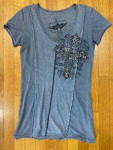 Affliction short sleeve shirt cross rivets gray Womens SMALL
