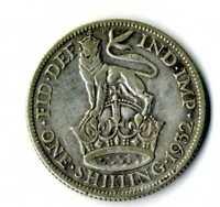 Moneda Gran Bretaña 1932 one shilling George V British plata .500 silver coin