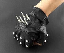 Spike Nieten Leder Fingerlose Handschuhe Biker Fahrrad fingerless Herren Gloves