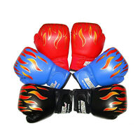 Children Kids FIRE Boxing Gloves Sparring Punching Fight Training Age 3-12  IO