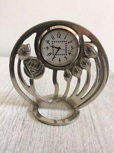 Charles Rennie Mackintosh Style Pewter Clock