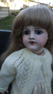Antique Fabrication Francaise Limoges France Doll, J.B. 53 cm Tall.