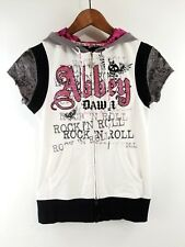 Abbey Dawn Hoodie Size M Womens Short Sleeve Sequined Zipper Front    G5