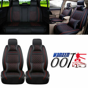 Luxury Black PU Leather Car Seat Covers 5-Seats Front+Rear Full Set Accessories