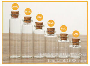 5/10Pcs Mini Glass Bottles With Cork Stopper Small Jars Wedding Vials Containers