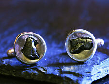 Solid Silver Cufflinks Set With Iron Meteorite