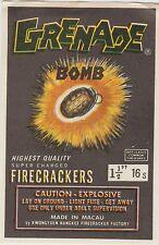 Vintage Grenade Bomb Firecracker Pack Label