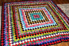Antique 1940 Velvet QUILT Handpieced w/matching tapestry!!! Fabulous 74x74