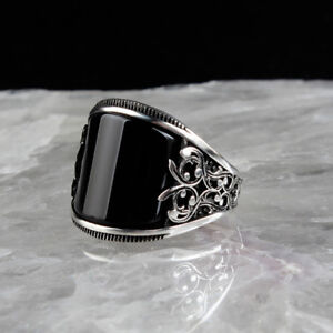 Handmade pure 925 SILVER rings Onyx stone for Men all sizes jewelry RRP £40