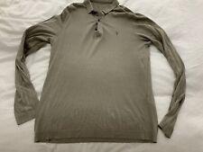 Mens Khaki All Saints Long Sleeve Polo Shirt Size Large