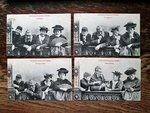 LA FAMILLE DURAND AU THEATRE, COMICAL CHARACTERS! - SET OF 4 POSTCARDS (1903)