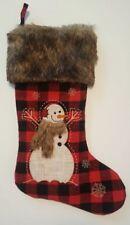 Red Black Christmas Stocking Buffalo Check Plaid Faux Fur Cuff Snowman Farmhouse