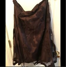 anthropologie brown floral applique skirt size M