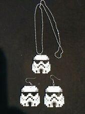 Stormtrooper Mini Hama Bead Necklace & Matching Dangle Earrings