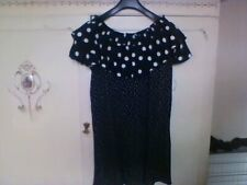 Lady's dress Size 14/12 black-white polka dot above knee versatile top viscose
