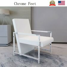 Arm Chair Leather Seat Home Furniture Cube Relax Armchair with Chrome Feet White
