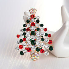 Fashion Unisex Crystal Rhinestone Brooch Christmas Tree Brooch Pin Xmas Gift BDA