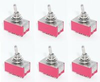 6 ON/OFF/ON 4PDT Miniature Toggle Switch Four Pole Double Throw