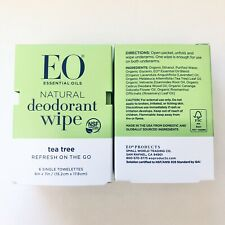 EO Deodorant Wipes Tea Tree x 2 New Boxes, Total of 12 Single Towelettes
