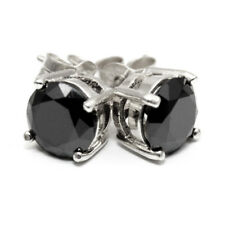 Stud Earrings Black Diamond Unique 4 Claw Sterling Silver