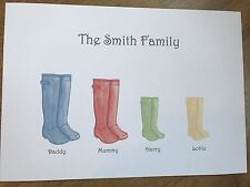 Family Tree personalised print - wellies bespoke gift