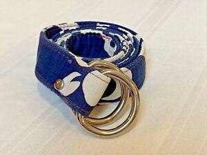 Maax Blue Fish River Women's Preppy Blue Fabric D Ring Belt Luke's Hair Is Large