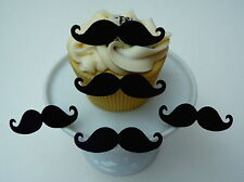 20 PRE-CUT MOUSTACHE MUSTACHE MOVEMBER CUP CAKE EDIBLE RICE WAFER PAPER TOPPERS