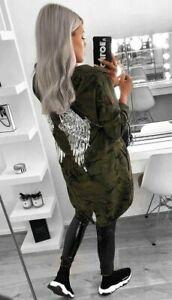 Camouflage Sequin Angel Wings Back Women Over-sized Jacket Coat Hoodie Cardigan