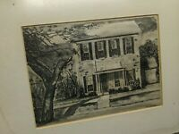 WOODBLOCK ART PRINT SIGNED ORIGINAL ANTIQUE-VTG PICTURE FRAME WOOD GLASS HOUSE