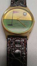 Unique Mens Golf Wristwatch 18th Hole Green & Gold Golf Ball Secondhand Leather