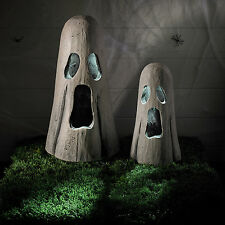 Set of 2 White LED Battery Operated Halloween Light Up Ghosts Party Decoration