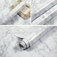 5m Vinyl Grey Marble Wallpaper Self Adhesive Wall Stickers Kitchen Cabinet Decor