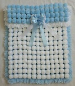 WHITE AND BLUE BABY BOY TURNOVER POM POM BLANKET