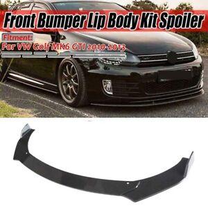 For Volkswagen Golf MK6 GTI 10-13 Gloss Black Front Lip Bumper Spoiler Splitter