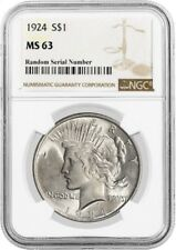 1924 $1 Silver Peace Dollar NGC MS63