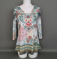 ONE WORLD Women's MEDIUM Floral Print 3/4 Sleeve Studded Front Tunic Top-NWOT