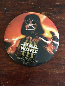 Star Wars Revenge of the Sith dvd promo Darth Vader button badge