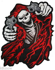 """Reaper with Guns (Red) Embroidered Back Patch 39cm x 25.5cm (15.1/4"""" x 10"""")"""