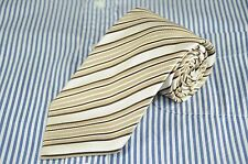 Kenneth Roberts Platinum Men's Tie Gold & Ivory Striped Woven Silk Necktie