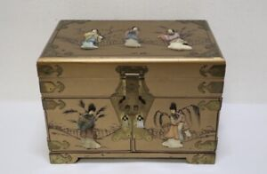 "Chinese Lacquer Jewelry Box w Stone Overlay 10h""x 14.7""x 9.1"""