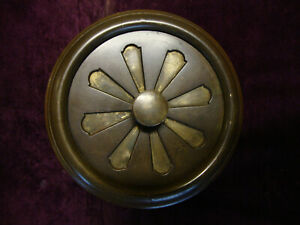 Antique heavy cast brass circular hit and miss air vent with frame