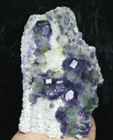 1.33lb Natural Rare Green-Purple Cubic Fluorite Crystal Mineral Specimens/China