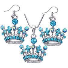 Aqua Blue Princess Crown Tiara Pendant Necklace Hook Dangle Earrings Gift Set