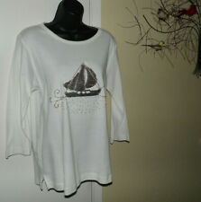 PALM GROVE~ WOMEN'S WHITE TOP w/SEQUIN/BEAD EMBELLISHMENT~ SIZE MED~ CC #9