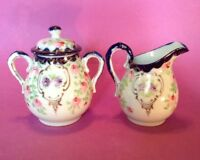 Hand Painted Sugar And Creamer - White - Blue And Gold Rims - Pink Mums - Japan
