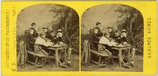 Photo Stéréo Albuminé Groupes Animés Vers 1870