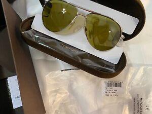 Tom Ford MARKO FT0144 18N Rhodium Aviator Pilot Sunglasses