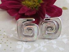 Ohrstecker 925 Sterling Silber Damen Ohrringe Rainbow-Weiß-Design-Opal 10mm
