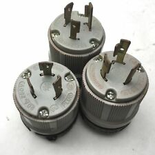 Lot Of 3 Arrow Hart 20a 250vdc Turn Pull Locking Grounding Male Electrical Plug