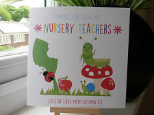 Handmade Personalised Teacher Thank You Card Nursery Teachers Childminder Nanny